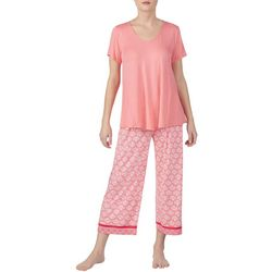 Ellen Tracy Womens Fan Print Pajama Capris Set