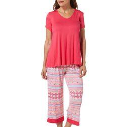 Ellen Tracy Womens Fair Isle Print Pajama Capris
