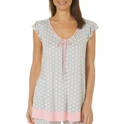 Ellen Tracy Womens Damask Flutter Sleeve Pajama Top