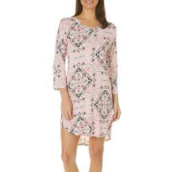 Ellen Tracy Womens Mixed Paisley Print Nightgown