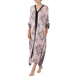 Ellen Tracy Womens Damask Long Zip-Up Kaftan