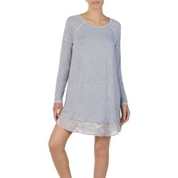 Layla Womens Heathered Floral Hem Long Sleeve Nightgown