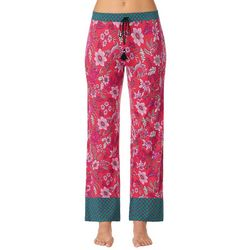 Layla Womens Floral Contrast Print Long Pajama Pants