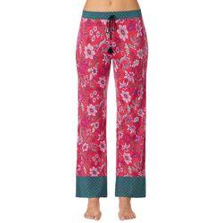 Layla Womens Floral Contrast Print Long Pajama Pants