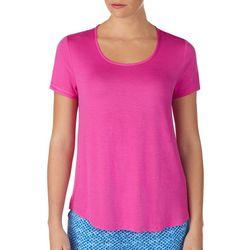 Layla Womens Crochet Back Short Sleeve Pajama Top