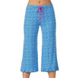 Layla Womens Geometric Print Cropped Pajama Capris