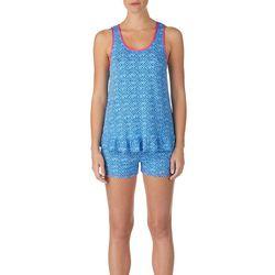 Layla Womens Geometric Print Ruffle Hem Pajama Shorts