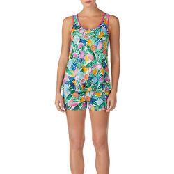 Layla Womens Fruit Print Ruffle Hem Pajama Shorts Set
