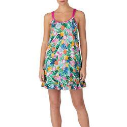 Layla Womens Tropical Fruit Ruffle Hem Sleeveless Nightgown