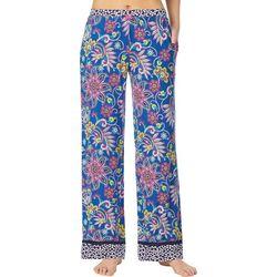 Layla Womens Paisley Contrast Hem Pajama Pants