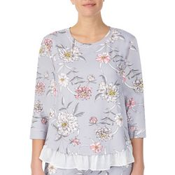 Layla Womens Floral Three Quarter Sleeve Pajama Top