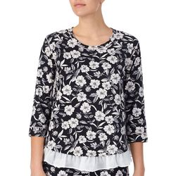 Layla Womens Floral Print Three Quarter Sleeve Pajama Top