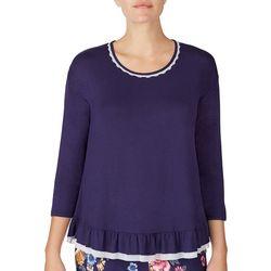Layla Womens Ruffle Trim 3/4 Sleeve Pajama Top
