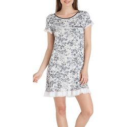 Layla Womens Floral Print Ruffle Nightgown