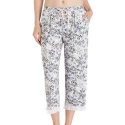 Layla Womens Floral Ruffled Hem Pajama Capris