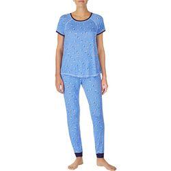 Layla Womens Cat Print Jogger Pajama Pants Set