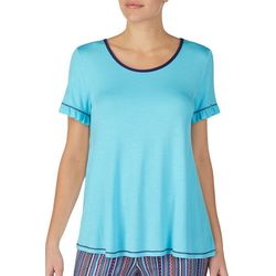 Layla Womens Solid Contrast Stitch Short Sleeve Pajama Top