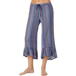 Layla Womens Striped Ruffle Hem Pajama Capris