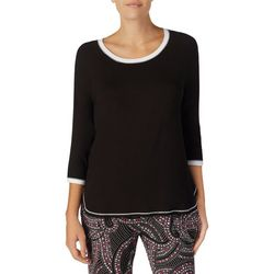 Layla Womens Solid Three Quarter Sleeve Pajama Top