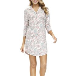 Echo Womens Paisley Print Button Down Collared Sleepshirt