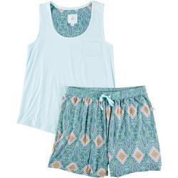 Womens Tank & Scarf Print Pajama Shorts Set