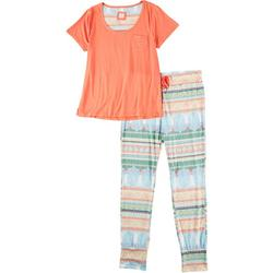 Juniors Scoop Neck Striped Legging Pajama Set