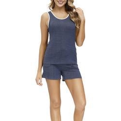 Womens Solid Contrast Trim  Pajama Shorts Set