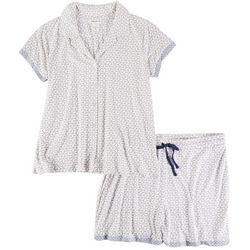 Beautyrest Womens Daisy Button Down Pajama Shorts Set