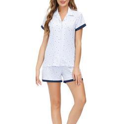 Womens Geometric Button Down Pajama Shorts Set