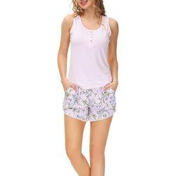 Echo Womens 2-Pc. Floral Pajama Shorts & Henley Tank Set