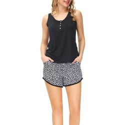 Echo Womens 2-Pc. Leopard Pajama Shorts & Henley Tank Set