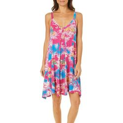 Catherine Malandrino Womens Floral Palm Chemise Nightgown