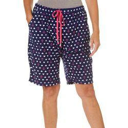 Rene Rofe Womens Nautical Love Print Terry Pajama Shorts