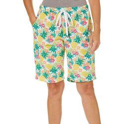 Rene Rofe Womens Tropical Pineapple Terry Pajama Shorts