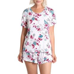 Womens Tropical Floral Print Pajama Short Set
