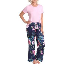 Womens Tropical Floral Print Pajama Pants Set