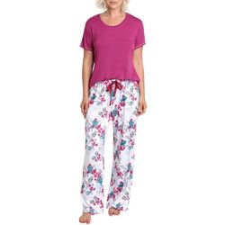 Caribbean Joe Womens Tropical Floral  Pajama Pants Set