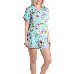 Caribbean Joe Womens Tropical Notched Pajama Shorts Set