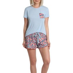 Womens Paisley Ruffle  Hem Pajama Short Set