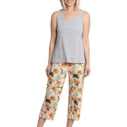 Womens Tropical Sleeveless Pajama Capri Set