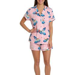 Caribbean Joe Womens Tropical Boxer Pajama Shorts Set