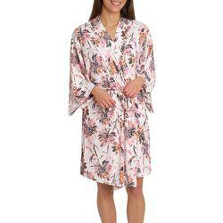 Caribbean Joe Womens Ivory Palm Kimono Wrap Robe