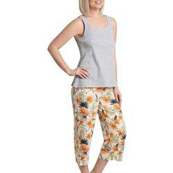Caribbean Joe Womens Tropical Sleeveless Pajama Capri Set