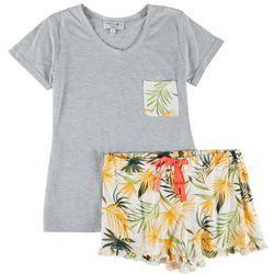 Caribbean Joe Womens Pineapple Pajama Short Set