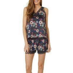 Juniors Lace Trim Floral Pajama Shorts Set