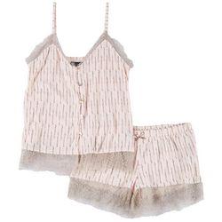 Juniors Lace Trim Button Up Pajama Shorts Set