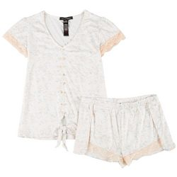 Nanette Lepore Juniors Floral & Lace Pajama Shorts Set