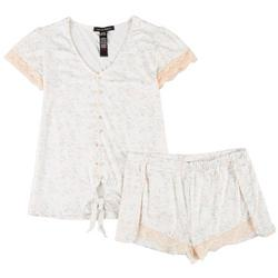Juniors Floral & Lace Pajama Shorts Set