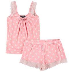 Lace Trim Tile Print Pajama Shorts Set