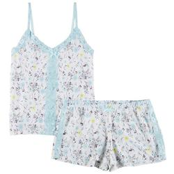 Lace Trim Floral Print Pajama Shorts Set
